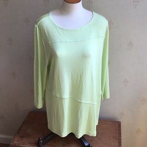 Chico's Travelers Light Green Top Size 2 (L)